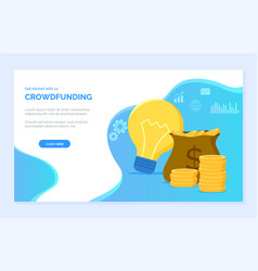 Crowdfunding money in bag cash and light bulb vector