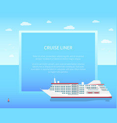 Cruise liner poster color vector