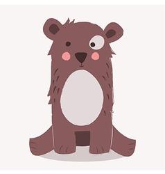 Cute brown bear sitting vector