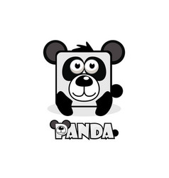 cute cartoon square panda set animals vector image