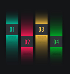Dark colorful infographic four steps vector