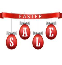 easter egg sale 3d banner set ribbon bow white vector image
