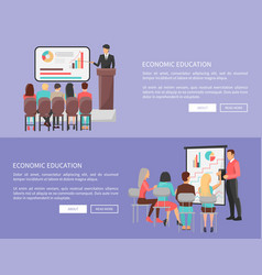 Economic education set of web posters with teacher vector