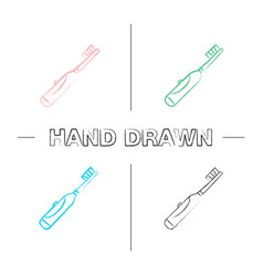 Electric toothbrush hand drawn icons set vector