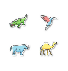 Exotic animals printable patches vector