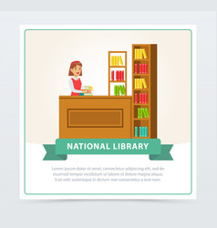 Female librarian at service desk banner education vector