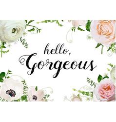floral design horizontal card design rose anemone vector image