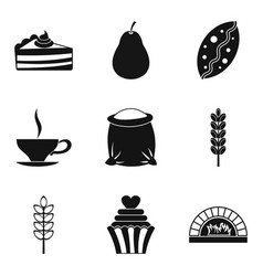 Flour food icons set simple style vector