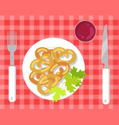 German pretzels on pretty checkered tablecloth vector