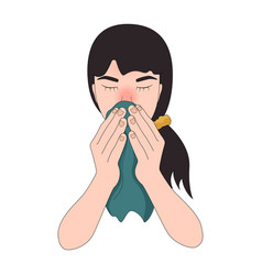 Girl with flu symptoms blowing her nose sneezing vector