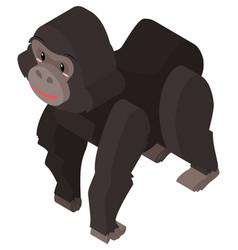 Gorilla with black fur in 3d vector