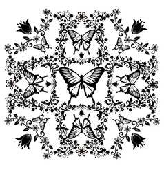 graphic element butterfly with flourishes 2 vector image