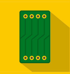 Green circuit board icon flat style vector