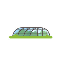 Greenhouse with glass walls farm building vector