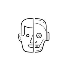 half human half robot head hand drawn outline vector image