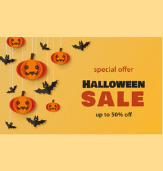 halloween sale - holiday promotion banner template vector image