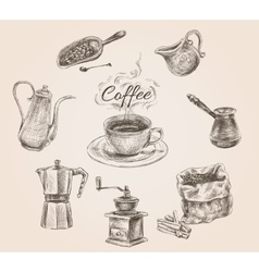 Hand drawn retro coffee set vector image