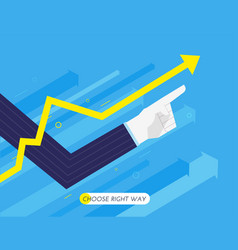 hand of a businessman points up growth chart vector image