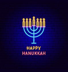 happy hanukkah neon label vector image