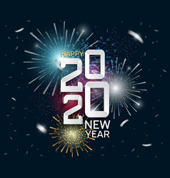Happy new year 2020 white number with firework vector
