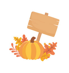 happy thanksgiving day pumpkin wooden sign fall vector image