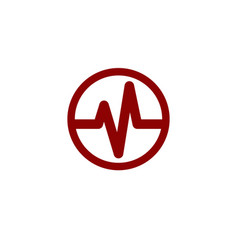 Heart beat cardiogram life line circle icon vector