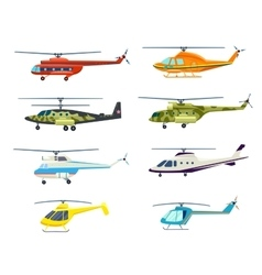 Helicopter isolated set in flat design vector