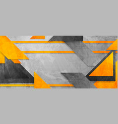 Hi-tech abstract orange grey banner background vector