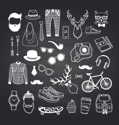 hipster doodle icons on black chalkboard vector image