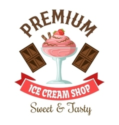 Ice cream shop retro symbol with strawberry gelato vector