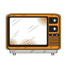 isolated retro tv icon vector image