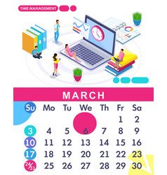 isometric calendar of 2019 time management banner vector image