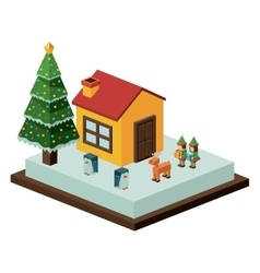 Isometric christmas house and pine tree design vector