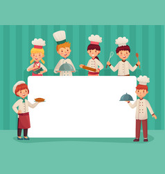 Kids chefs frame children cooks little chef vector