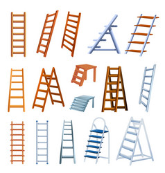 Ladder icons set cartoon style vector