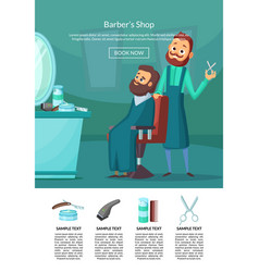 landing page with barber doing vector image