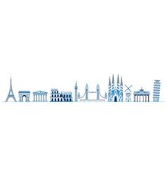 line art set european monuments and landmarks vector image