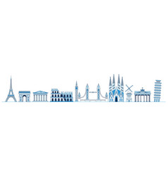 Line art set of european monuments and landmarks vector