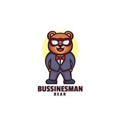 logo businessman bear mascot cartoon style vector image