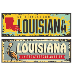 louisiana signs set with state map vector image