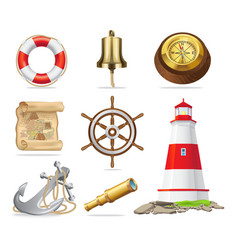 marine attributes set of isolated vector image