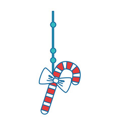 merry christmas cane with bow vector image