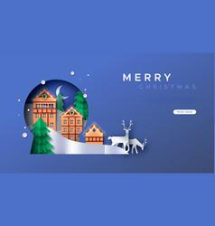 Merry christmas papercut winter town web template vector