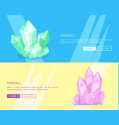 minerals crystals web posters online push buttons vector image