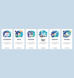 mobile app onboarding screens art work vector image
