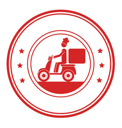 monochrome circular frame with delivery man in vector image