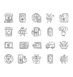 Online shop charcoal draw line icons set vector
