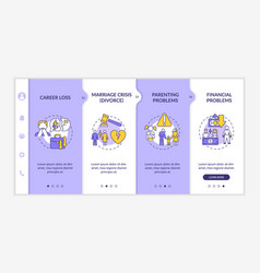 Parenting problems onboarding template vector