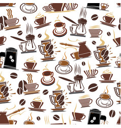 pattern coffee cups and beans vector image