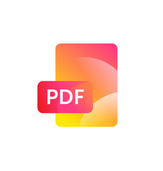 pdf format icon gradient flat style bright vector image